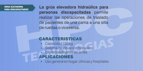 especificaciones Elevador grua para personas con discapacida
