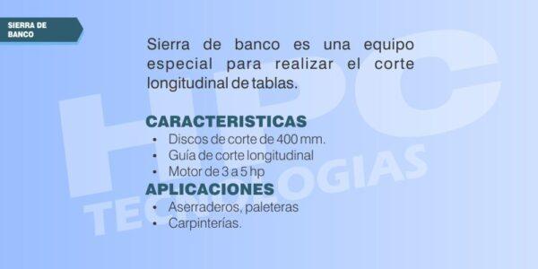 especificaciones Sierra de banco para madera