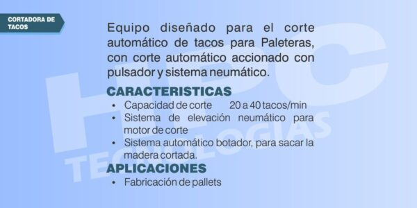 Sierra automatica cortadora de tacos