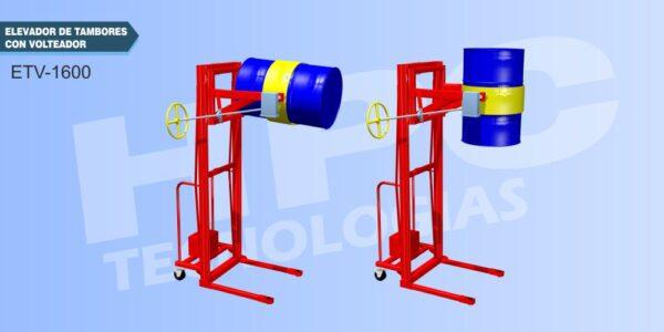 Elevador con volteador para tambores