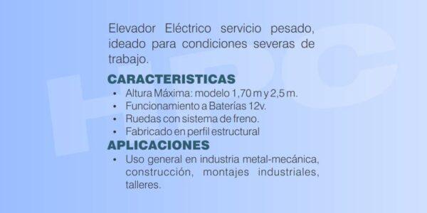 Ficha tecnica Elevador de carga servicio pesado