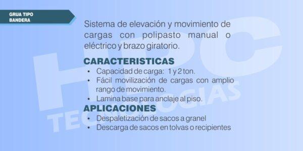 especificaciones Grua elevadora electrica tipo bandera
